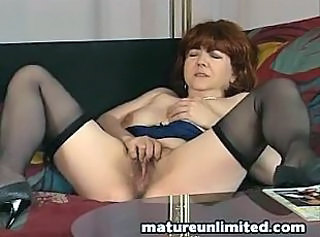 Hairy Masturbating Mature Solo Stockings