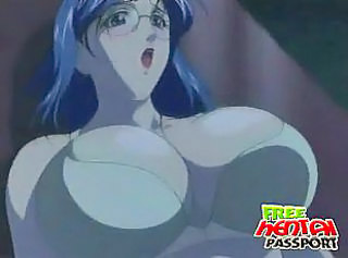 Trashy hentai seductress in glasses gives blowjob and tit job on her knees