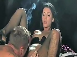 Sexy Brunette Babe Smoking Sucking and Banging
