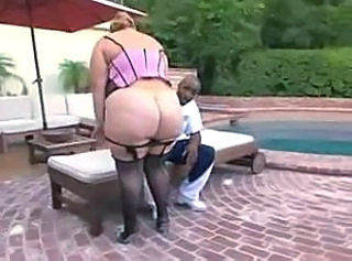 Ass BBW Interracial Lingerie Outdoor Pool Stockings