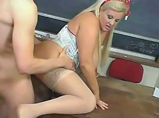 Blonde Doggystyle MILF School Stockings Teacher