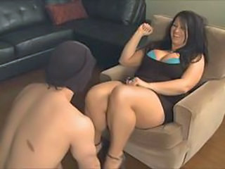 She makes male sub suck on her panties