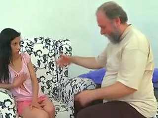 Spicy dirty brunette has made love by bearded older dude