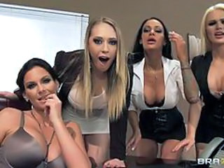 Insanely Hot Coworkers Have A Hot Orgy With A Hard Cock