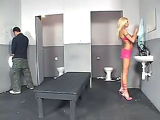 Sabrina Rose uses the men's room...