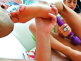 Angelina Valentine foot job and dildo drill