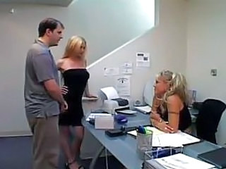 Amazing Blonde Groupsex Office Teen Threesome Young