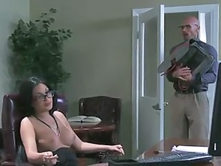 Four-eyed guy Johnny Sins finally makes his dream of fucking his super sexy big boobed lady boss Emily B a reality. He has sex of the lifetime with ultra hot busty brunette Emily B.
