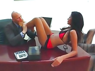 Rampant Ruby Rayes makes her boss lick her feet