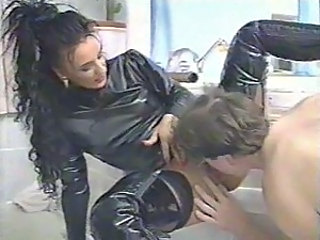 Amazing Brunette European Femdom German Latex Licking MILF Slave