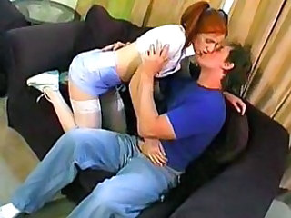 Redhead pigtail teen creampied