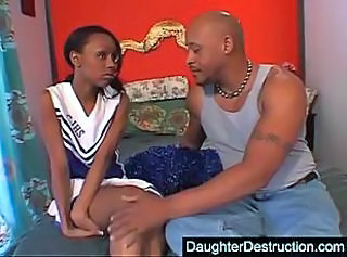 Amateur Cheerleader Cute Daughter Ebony Skinny