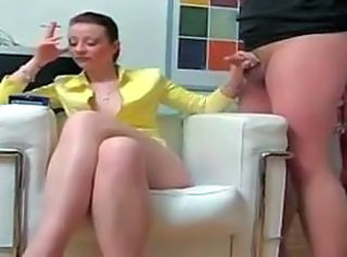 Bored housewife jerks smoking
