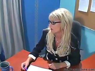 Blonde Glasses MILF Office Pornstar