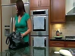 Brunette Kitchen MILF Pornstar
