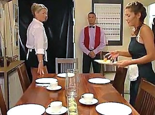 Blonde Brunette Kitchen Maid MILF Pornstar Threesome