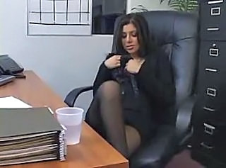 Sweet pantyhose girl in the office fucked