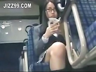 Bus Cute Glasses Japanese School Skirt Teen