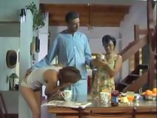 Brunette Family Kitchen MILF Threesome