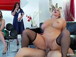 Karen Fisher gives cock a try in front of curious MILFs