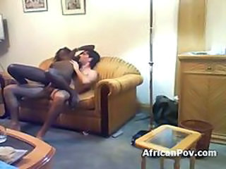 Interracial fuck with slim African girl
