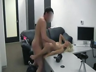 Casting session with blonde teen includes fucking