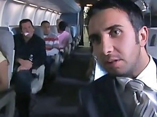 Babe on a plane fucked in her cunt