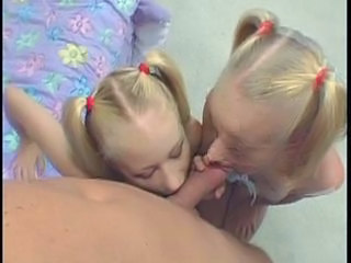 Blonde Blowjob Groupsex Pigtail Sister Threesome Twins