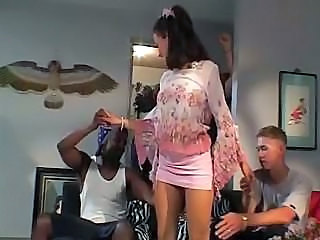 Amazing Brunette Groupsex Interracial Skirt Young