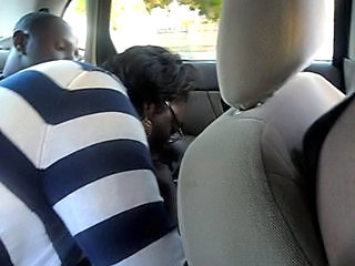 BBW Blowjob Car Clothed Ebony Glasses