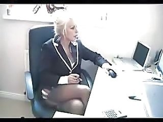 Amazing Blonde MILF Office Stockings