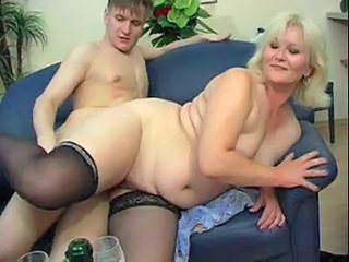 Plump mom with small saggy ti...