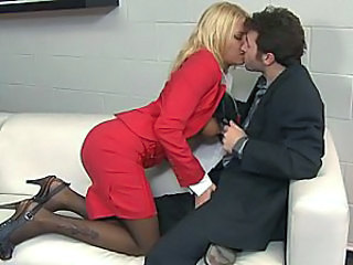 Babe Blonde Kissing Office Secretary Stockings