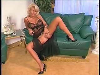 Amazing Blonde Cute Lingerie Mature Pussy Stockings
