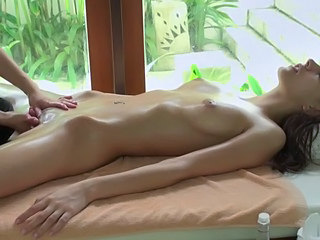 Brunette Massage Masturbating Oiled Small Tits