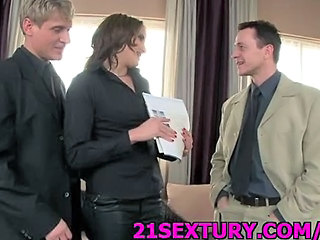 Brunette MILF Office Threesome