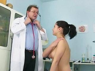 Brunette Cute Doctor Natural Teen Uniform Young