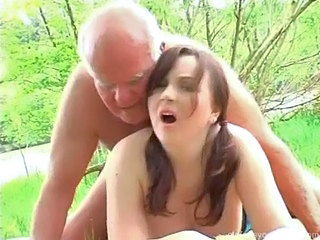 Amateur Cute Doggystyle Old and Young Outdoor Redhead