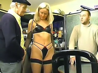 Blonde French Lingerie Small Tits Threesome