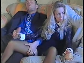 Amazing Blonde Handjob MILF Pornstar Stockings Threesome