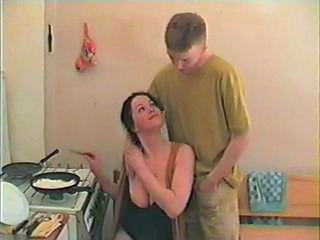 Amateur Big Tits Brunette Kitchen Young