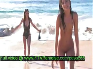 Amateur Beach Bikini Brunette Cute Nudist Outdoor Skinny Small Tits