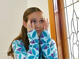 Beauty tiny teen Amai Liu get two huge cocks