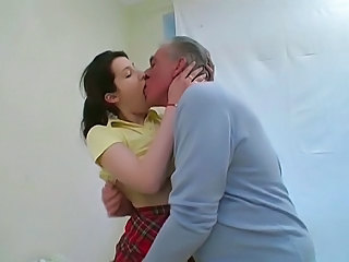 Amateur Brunette Cute Kissing Old and Young
