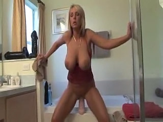 Amazing Bathroom Big Tits Cute Dildo Masturbating MILF Natural Solo Toy