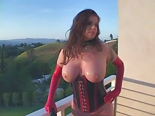 Incredibil Tate mari Corset Latex MILF Natural Tatuaj