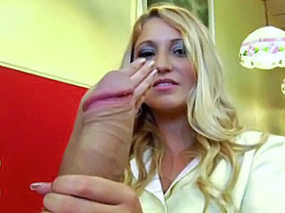 Babe Big cock Blonde Cute Handjob