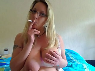 Smoking Fetish - Blonde saggy tits smoking