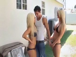 Babe Beach Bikini Blonde Outdoor Threesome