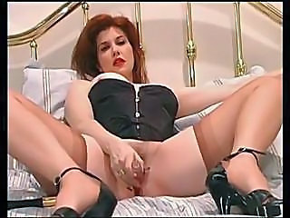 Amazing Corset Cute Masturbating MILF Redhead Solo Stockings Toy